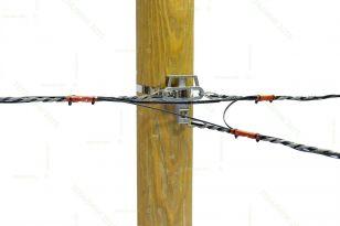 Переход улицы по диэлектрическому троссу, 2 навивных кабеля.