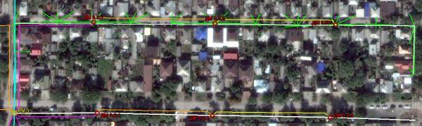 Схема разводки дроп-кабелей для одной из улиц